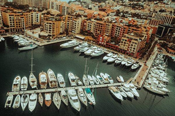 Фото Монте-Карло Монако Яхта Сверху Причалы Города 600x398 Пирсы Пристань город