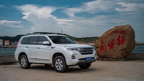 Картинки Haval китайский CUV H9, 2019 Белый Металлик автомобиль 600x337 Китайские китайская Кроссовер белая белые белых авто машины машина Автомобили