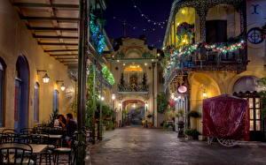 Фотография Штаты Диснейленд Улица Ночь Калифорния Кафе Города