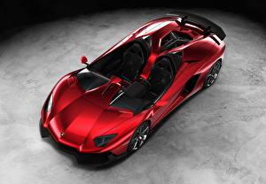 Фотография Ламборгини Красных Кабриолета Бордовая Роскошный 2012 Aventador J Авто