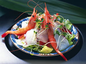 Обои Морепродукты Креветки Тарелка Еда фото
