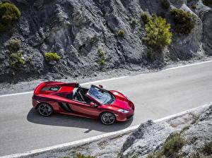Картинка Макларен Дороги Бордовый Кабриолет Сверху Дорогие 2012 MP4-12C spider Автомобили