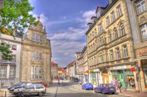 Фото Германия Здания Дороги Улиц HDRI Eisenach Thuringia город