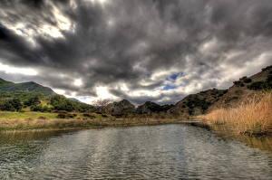 Картинка Речка США Небо Облака Калифорнии Малибу Природа