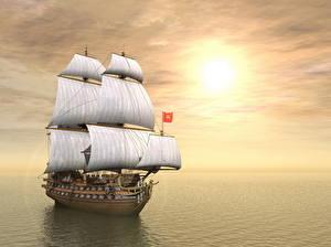 Фотография Парусные Корабли Море Небо Облачно Горизонт 3D Графика