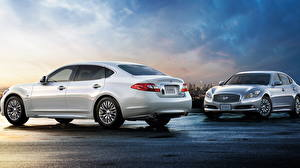 Фотографии Nissan Белые Сбоку 2012 Cima Hybrid ( HGY51 ) Автомобили