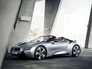 Картинка BMW Серебристый Роскошный Кабриолет Сбоку 2012 i8 машины