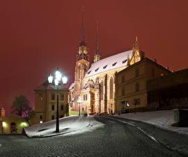 Фотография Чехия Дороги Улиц Уличные фонари Ночные Брно Города