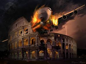 Фото Италия Катастрофы Рим Колизей Арка Фэнтези Города