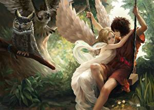 Фото Любовь Ангелы Влюбленные пары Юноша Фэнтези Девушки