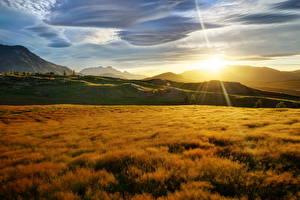 Картинки Рассветы и закаты Новая Зеландия Небо Лучи света Траве Солнца Природа