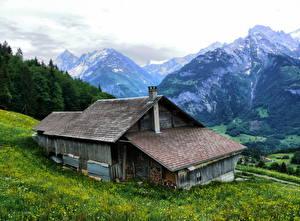 Фотография Здания Швейцария Горы Берн Траве Hasliberg