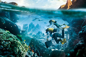 Картинка Креатив Подводный мир Дайвинг Атлантида