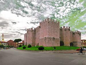 Фото Замки Италия Дороги Тоскана Каменные Tuscany Prato Города