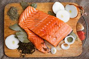 Обои Морепродукты Рыба Лук репчатый Еда фото