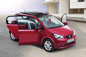 Картинки Seat Бордовый Фар Открытая дверь 2012 Mii 5-door авто