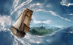 Обои Парусные Корабли Облачно