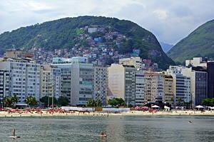 Обои Бразилия Побережье Горы Здания Рио-де-Жанейро