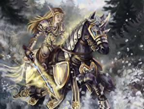 Фотография World of WarCraft Эльфы Лошади Воин Рисованные Броне Меча Игры Девушки Фэнтези