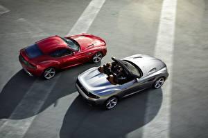 Фотографии BMW Красный Серебристый Кабриолет Сверху Дорогой Родстер 2012 Roadster Zagato Автомобили