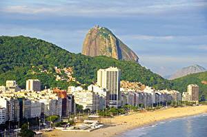 Фото Бразилия Берег Горы Здания Пляж Рио-де-Жанейро