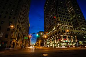 Фото США Дороги Дома Мичиган Ночь Улица HDR Detroit Города