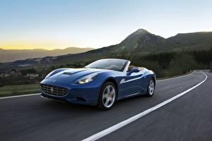 Картинки Ferrari Дороги Синий Роскошные Кабриолет 2012 California Автомобили