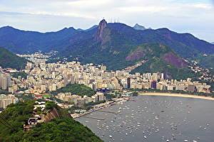 Фотографии Бразилия Берег Горы Сверху Рио-де-Жанейро