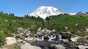 Фото Парки Горы США Камни Пейзаж Ручей Маунт-Рейнир парк