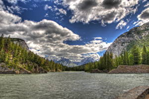 Обои Парки Канада Небо Пейзаж Речка Облачно HDRI Банф Природа