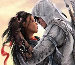 Картинка Assassin's Creed Assassin's Creed 3 Любовь Мужчины Воины Влюбленные пары Игры Девушки