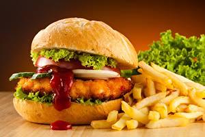 Фотографии Гамбургер Быстрое питание Картофель фри Кетчупом Продукты питания