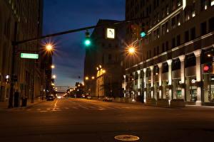 Картинки Штаты Дороги Мичиган Ночь Улице Detroit Города
