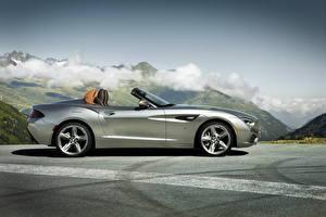 Фотография BMW Серебристый Люксовые Кабриолет Сбоку Асфальт Родстер 2012 Roadster Zagato Автомобили