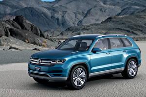 Картинка Volkswagen Голубые Металлик 2013 CrossBlue автомобиль
