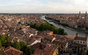 Картинки Италия Здания Верона Сверху Водный канал Горизонт Borgo Trento