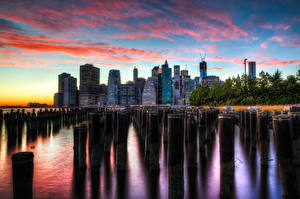 Фотографии Штаты Небоскребы Небо Нью-Йорк Города