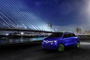 Картинки Renault Мосты Синий Ночь 2013 Twin-z Авто Города