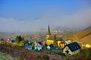 Фото Германия Дома Небо Облака Туман Sinsheim Города