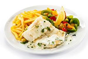 Фотографии Вторые блюда Картофель фри Рыба Тарелке Пища