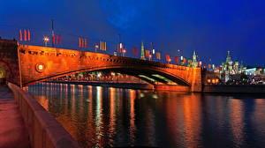 Обои Москва Мосты Реки Россия Ночью Большой Москворецкий город