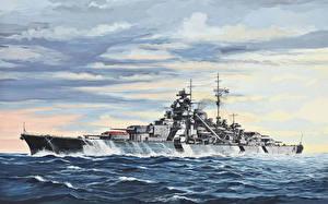 Фотография Корабли Рисованные Море Облачно Немецкий линкор Бисмарк Армия