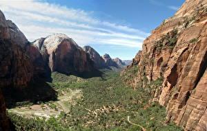 Картинка Парки Штаты Зайон национальнай парк Утес Каньон Canyon Природа