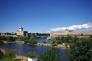 Фотография Россия Небо Эстония Реки Крепость Ивангородская и Нарвская Города