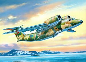 Картинки Самолеты Рисованные Транспортный самолёт Полет An-72P
