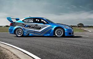 Картинки Лексус Голубой Сбоку Асфальт 2013 IS-F V8 Superstar Авто
