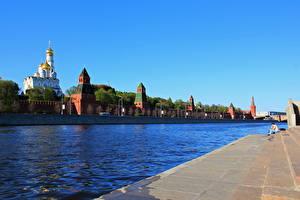 Картинка Москва Реки Россия Побережье Города