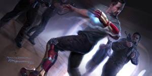 Картинка Железный человек Рисованные Robert Downey Jr Мужчины Воин Герои комиксов Железный человек герой Tony Stark кино