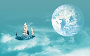Картинки Небо Корабль Парусные Земля Облака Космос