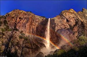 Обои Парки США Водопады Калифорния Йосемити Скала Радуга Природа фото